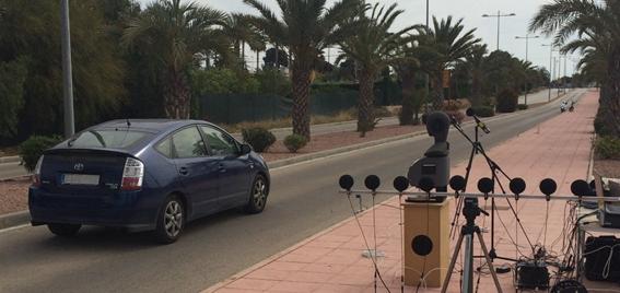 Pruebas de medición sonora al paso de un vehículo en modo eléctrico